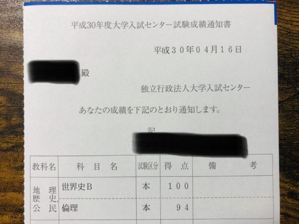 センター試験の成績通知