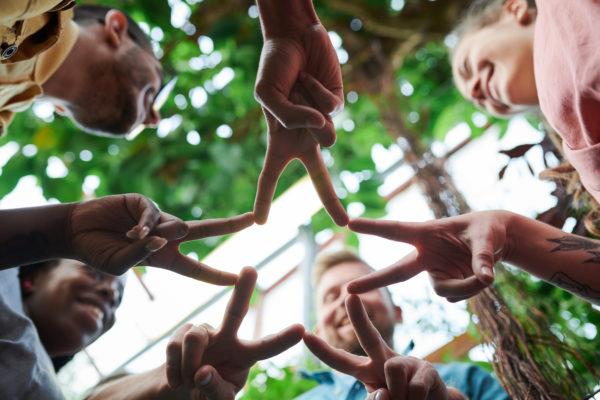 手で星の形をしている人のローアングル写真