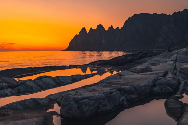 夕日と3つの海辺